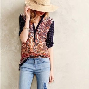 Anthropologie Tiny Persian Pear Paisley Blouse